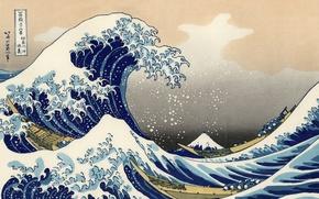 Picture figure, Wave, Fuji, Boats