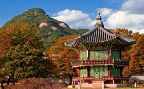 Picture roof, autumn, the sky, landscape, nature, house, hill, architecture, South Korea