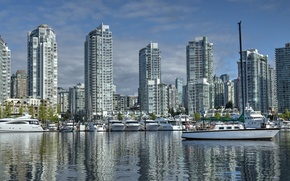 Picture building, yachts, port, Canada, Vancouver, Canada, British Columbia, boats, promenade, Vancouver, British Columbia, Yaletown, False …
