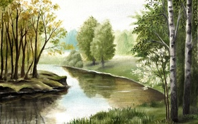 Picture Nature, Figure, Trees, River, Painting
