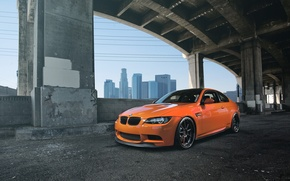 Picture orange, bridge, bmw, BMW, support, front view, orange, e92