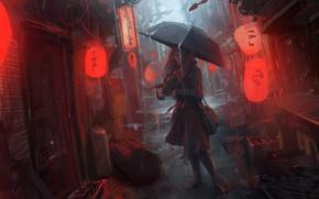 Picture girl, rain, street, umbrella, lights, lane