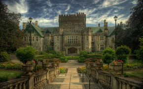 Picture clouds, trees, flowers, castle