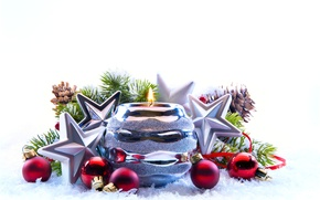 Picture winter, decoration, new year, Christmas, candles, .