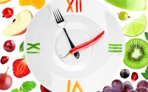 Wallpaper pepper, kiwi, garnet, plug, plate, berries, arrows, grapes, strawberry, creative, lemon, watch, gooseberry, white background, ...