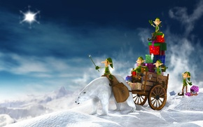 Picture white, new year, Winter, bear, gifts, dwarves