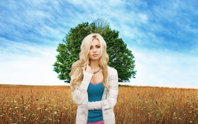 Picture field, the sky, girl, tree, meadow, blonde, beautiful
