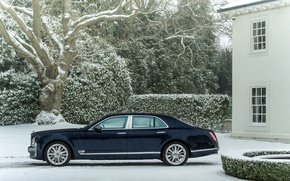 Picture Winter, Auto, Bentley, Blue, Snow, Machine, The building, sedan, Suite, Side view, mulsanne, Snowfall