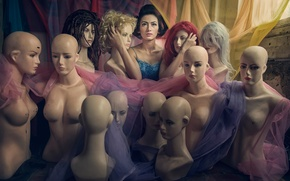 Picture girl, mannequins, hairstyles