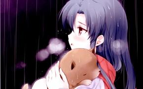 Picture drops, night, rain, scarf, puppy, art, Chihaya Kisaragi, Idol Master, the idolm @ ster, Komi …
