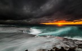 Picture the storm, landscape, storm, the ocean, dawn, cloud