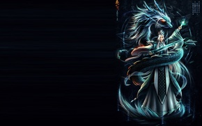 Picture fantasy, magic, snake, sword, art, guy