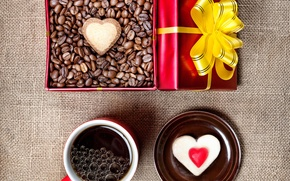 Picture holiday, box, gift, heart, coffee, grain, Cup, cake