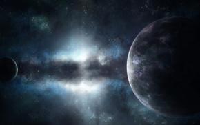 Wallpaper space, stars, planet, satellite, nebula, glow