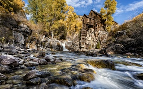 Picture nature, river, mill, United States, Colorado, Crystal Mill