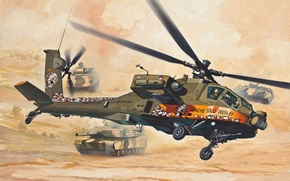 Picture art, painting, Helicopter, AH-64 Apache
