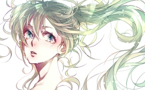 Picture face, emotions, tears, Hatsune Miku, shoulder, blue hair, vokaloid