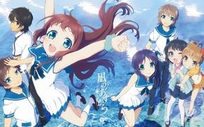 Picture water, joy, children, anime, school uniform, smile, Hiradaira Chisaki, Like no Asukara, Tsumu Let Kihara, …