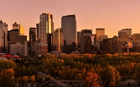 Picture Sunset, The sky, Water, Home, Reflection, Road, The city, Autumn, Trees, River, Panorama, Canada, Skyscrapers, ...