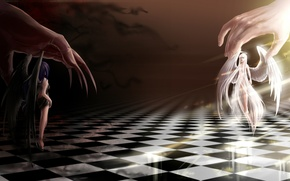 Picture welcome, art, chess Board, the demon, evil, fiction, angel