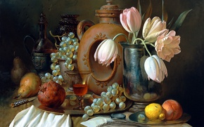 Picture letter, flowers, berries, table, pen, lemon, glass, picture, grapes, knife, tulips, dishes, vase, fruit, still ...