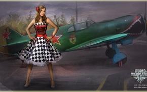 Picture girl, the plane, star, girl, aviation, air, MMO, Wargaming.net, World of Warplanes, WoWp, BigWorld, arcade, …