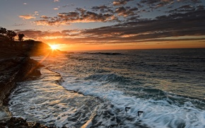Picture sunset, coast, Spain, Spain, Valencia, The Mediterranean sea, Alicante, Alicante