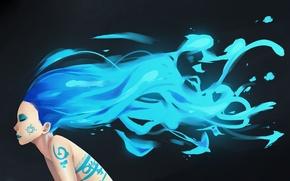 Picture girl, pattern, hair, figure, blue, art, blue