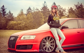 Picture auto, girl, red, Audi, Audi, lights, tuning, wheel