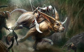Picture forest, animal, monsters, track, monkey, rider, ears, horn