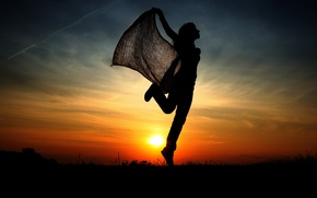 Picture girl, sunset, jump, silhouette