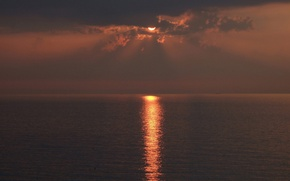 Picture sea, the sun, sunset, the evening, solar path