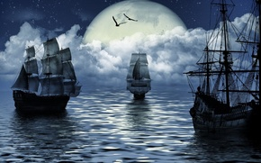 Picture sea, fantasy, the moon, ship, moon, fantasy, sea, ship, sailing, sailing