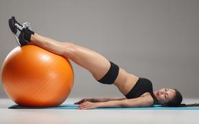 Wallpaper ball, female, workout, ftness