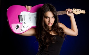 Picture Girl, Rock, Brunette, Music, Beauty, Background, Electric Guittar