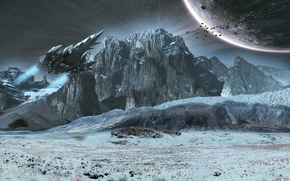Picture the sky, space, mountains, planet, starship