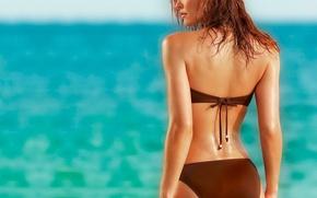 Wallpaper sea, beach, woman
