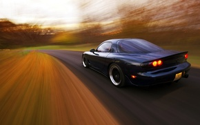 Picture road, speed, Mazda, rear, Mazda, RX-7, in motion