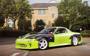 Picture green, tuning, profile, Mazda, green, Mazda, RX7, Drift Car
