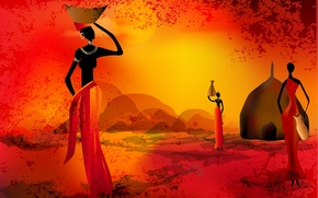 Picture women, the sun, sunset, silhouette, Africa