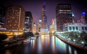 Picture night, the city, lights, river, skyscrapers, Chicago, Chicago, Illinois
