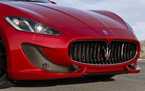Wallpaper Logo, Grille, Grancabrio, Lights, Maserati, The front