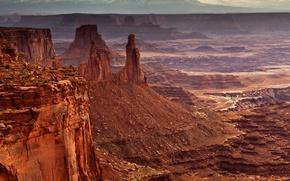 Wallpaper USA, stones, valley, rocks, panorama, Mesa Arch, canyon, Canyonlands National Park
