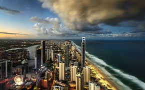 Picture the city, the ocean, skyscrapers, Australia, Surfers Paradise, City of Gold Coast