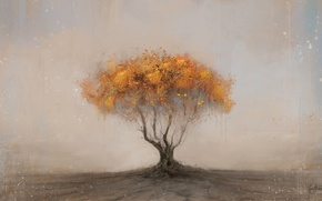 Picture background, tree, art, yellow, crown, Georg Hilmarsson