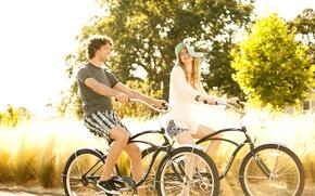 Picture woman, male, walk, bikes, couple riding bikes