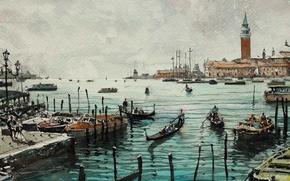 Wallpaper tower, home, picture, boats, watercolor, Venice, the urban landscape, Maximilian DAmico