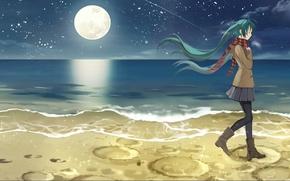 Picture girl, night, shore, hatsune miku, anime, art, curry kenji