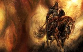 Wallpaper mail, hero, spear, horse, shield, warrior