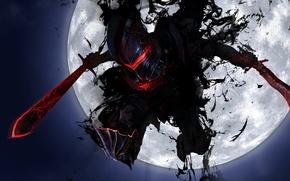 Picture weapons, jump, the moon, sword, art, armor, fate stay night, armor, fate zero, maningusu, berserker